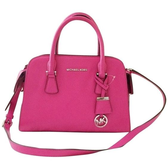 Pre-owned Michael By Michael Kors Harper Medium Raspberry Satchel (2.850 ARS) ❤ liked on Polyvore featuring bags, handbags, raspberry, leather handbags, pink leather purse, genuine leather purse, genuine leather satchel handbags and pink leather handbag