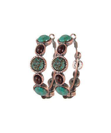 Bronze & turquoise loop earrings
