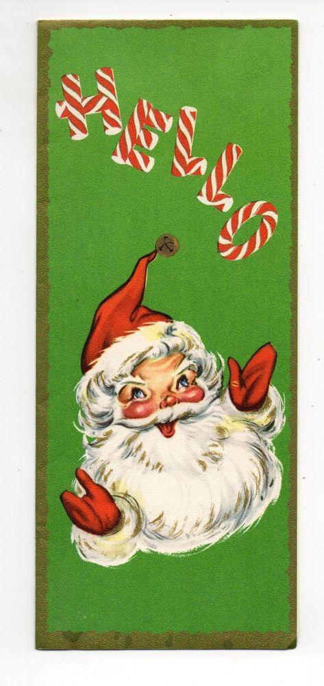 Vintage Christmas Greeting Card Hello Santa Claus  Christmas Unsorted II  P...