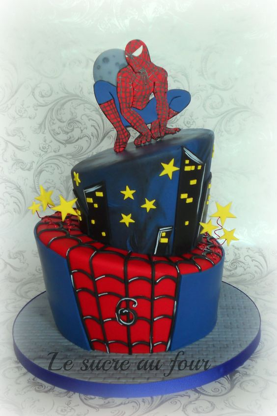 Spider man topsy turvy cake   Le sucre au four