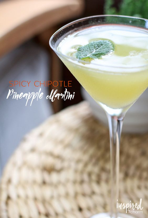 Spicy chipotle pineapple martini simple cocktail shaker for Drinks with simple syrup and vodka
