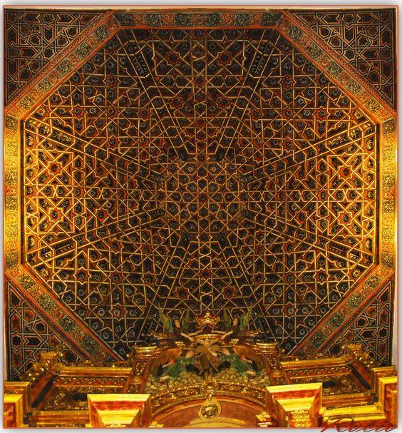 Artesonado mudéjar del siglo XVI en la iglesia parroquial de Nuestra Señora de La Anunciación, Cortes de Baza, Granada: