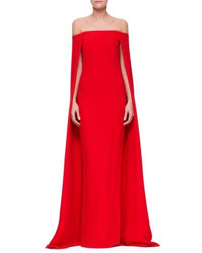 Ralph Lauren Collection | Audrey Cape Evening Gown | Neiman Marcus