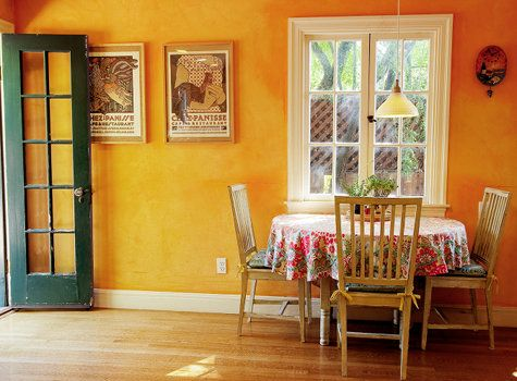 Saffron wall using lime wash lime powder mixed with pure for Saffron yellow paint color