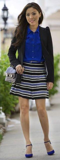 Outfit Posts: outfit post: cobalt blue blouse, black suit jacket ...