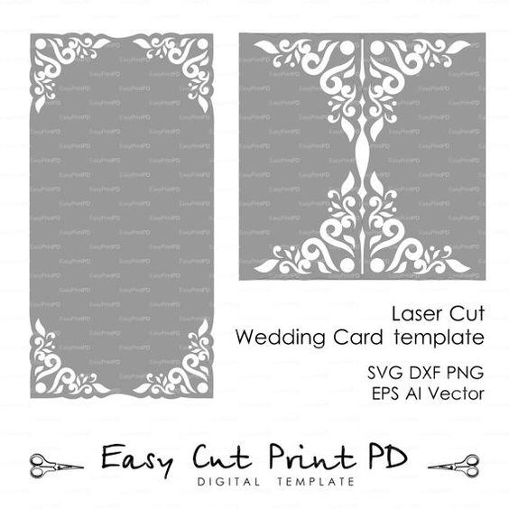 Wedding invitation Card Template Lace folds (studio V3, svg, dxf - download invitation card