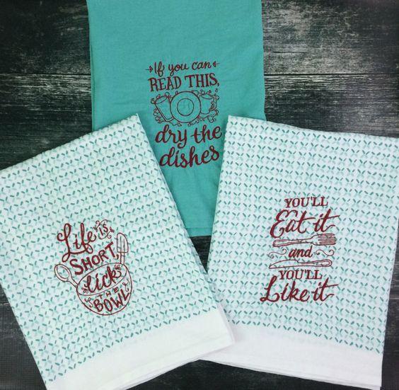 Embroidered kitchen towel / tea towel / flour sack towel / teal / set of 3…