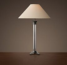 French Directoire Glass Column Table Lamp - Aged Steel