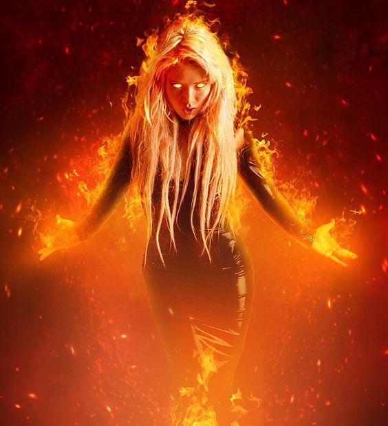 Como fazer uma montagem de uma mulher em chamas. | ::Tutoriais Photoshop::