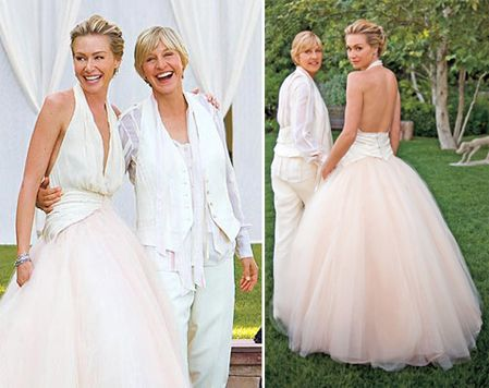 Top 10 celebrity wedding dresses of all time beautiful for Portia de rossi wedding dress