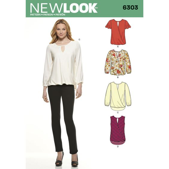 Make this soft blouse a staple in your closet. Misses' blouse has flutter, long sleeves or sleeveless with crossover blouson front and optional longer shirttail at back for an overall flattering look. New Look sewing pattern.