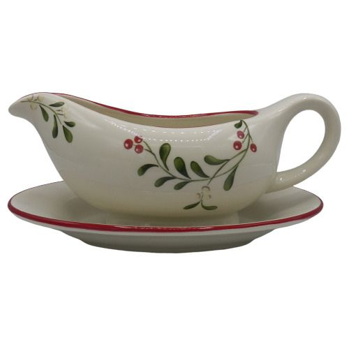 Better Homes And Gardens Christmas Dishes 2020 Better Homes & Gardens MISTLETOE Gravy Boat + Tray Christmas