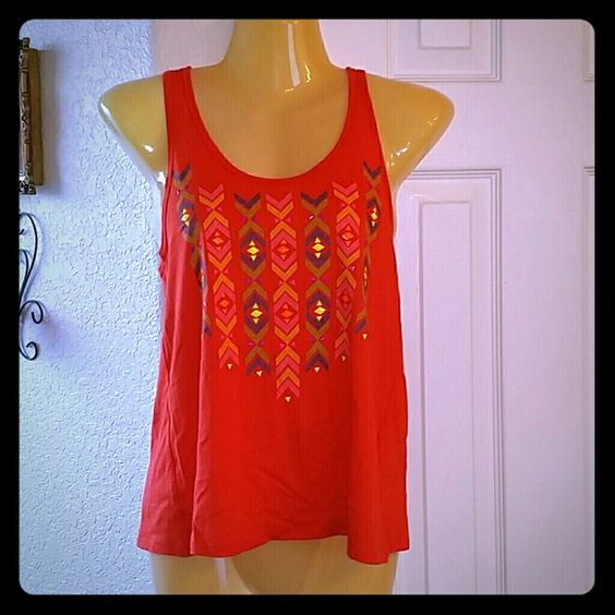 Tribal flyaway tank Flyaway back.  Tribal print.  Great orange color. Tops Tank Tops