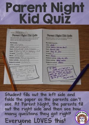 Perfect for back to school night! Kids and parents both love this activity. Kids create the quiz about themselves by filling in the blanks. Parents answer the questions without peeking. Fun and FREE: