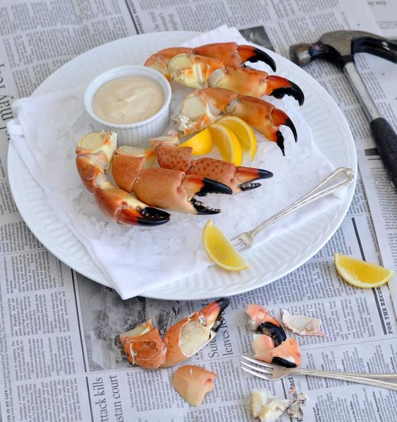 Stone Crab Claws with recipe for the famous Mustard Sauce.