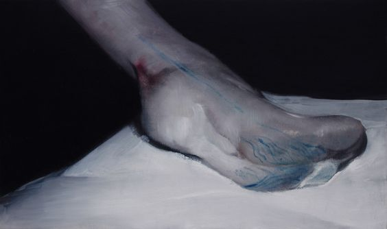 Foot on a table. 2011. 30 x 50 cm. Oil on canvas