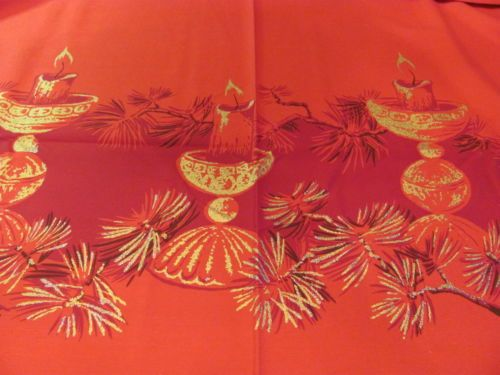 Vintage Christmas California Hand Print Red Gold Candles Pine Tablecloth 60x88 | eBay