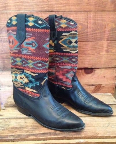 Seychelles-Black-Leather-Western-Cowboy-Boots-Tribal-Tapestry-Fabric-Navajo-7