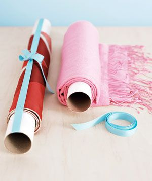 Organizing Tip: Roll up scarfs and tablecloths on paper tubes to keep wrinkle free