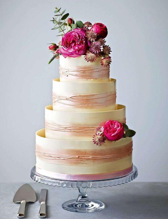 Torte nuziali bianche e rosa - Torta nuziale rosa antico