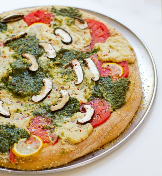 Pesto Cashew Ricotta Pizza from Healthy Happy Life. Looks like we'll be heading to the grocery store after work!:  Pizza Pie, Pesto Pizza, Vegan Recipes, Yum Yum, Food Pizza, Cashew Ricotta Cheese