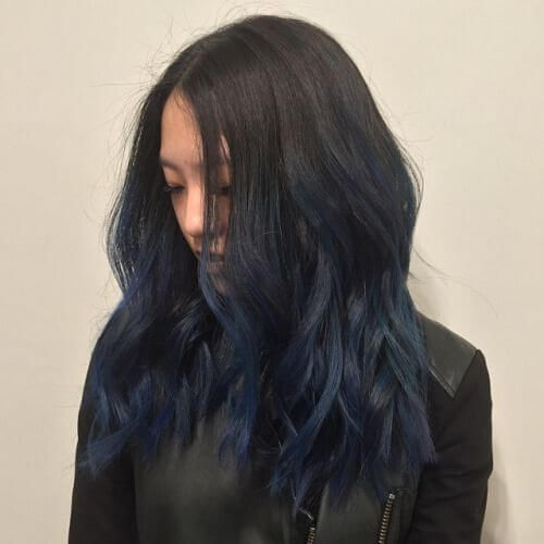Dark Brown And Navy Balayage Blue Ombre Hair Hair Styles Ombre Hair