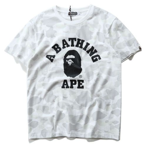 Bape Monkey A Bathing Ape Head Cotton Solid Color Tee Short Sleeve T-Shirt