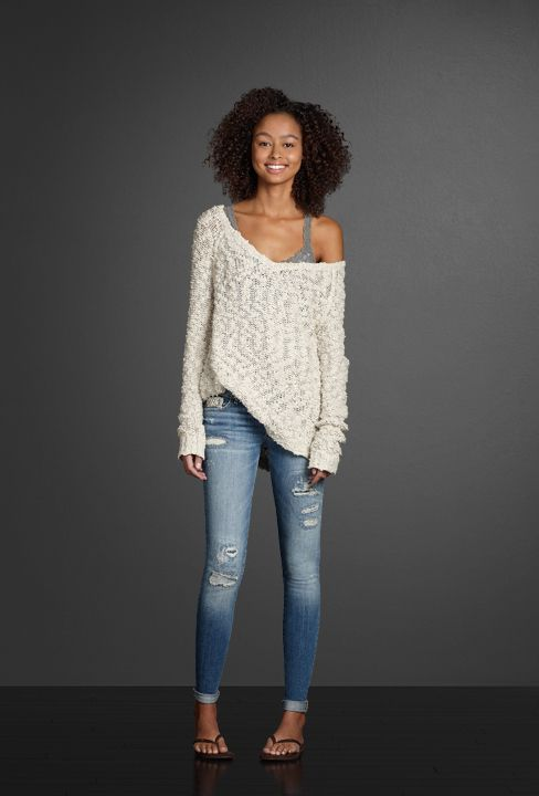 Hand-done destruction gives your favorite jeggings an authentic, lived-in look. Let the pretty lace straps of a soft tank show underneath a beautiful slub sweater worn off-the shoulder. Finish off your look with the luxurious scent of Perfume No. 1.