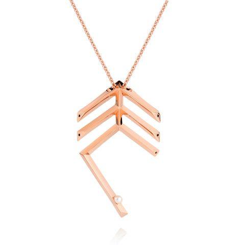 Miu Deco Pearl Feather Necklace - Sonal Bhaskaran London - 1