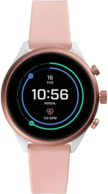 (166.30$)Fossil Women's Sport Metal and Silicone Touchscreen Smartwatch with Heart Rate, GPS, NFC, and Smartphone Notifications