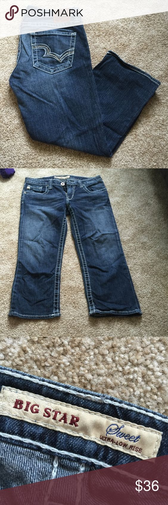 Big Star Capris Sweet ultra-low rise. Size 29. In good used condition! Make me an offer  Big Star Jeans Ankle & Cropped