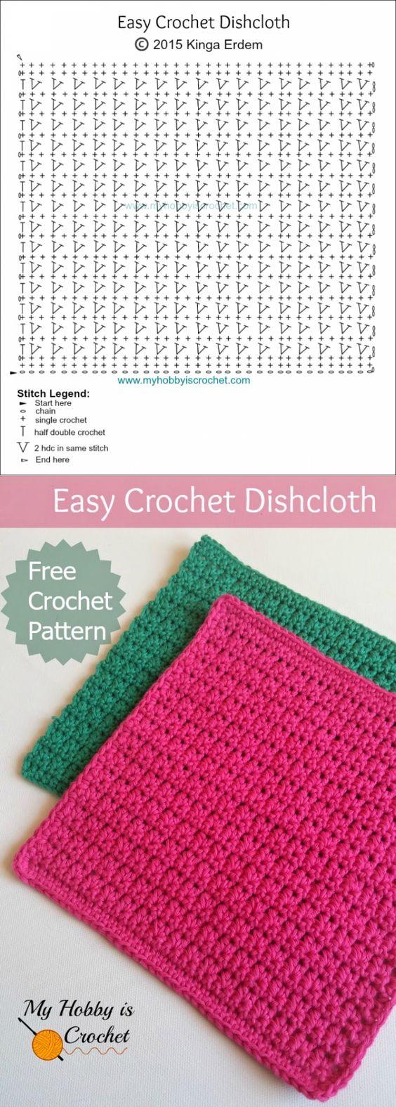 Mi afición ganchillo: Tejer un simple papel de cocina | Esquema de crochet libre: instrucciones escritas y gráficas | mi hobby que hace punto: