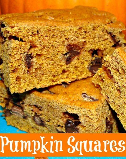 Frugal Pumpkin Squares Recipe: Chocolate Chips, Fall Recipes, Bountiful Bars, Desserts Treats, Dessert Healthy, Fall Food, Recipes Sweets, Pumpkin Spice, Bar Recipes