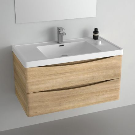 Meuble pour salle de bains en ch ne clair livr avec - Meuble vasque pour petite salle de bain ...