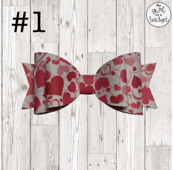 Valentine\u2019s Day Faux Leather Hair Bow