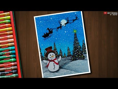 Christmas Drawing 2 With Oil Pastels Step By Step Youtube Christmas Drawing Oil Pastel Oil Pastel Art