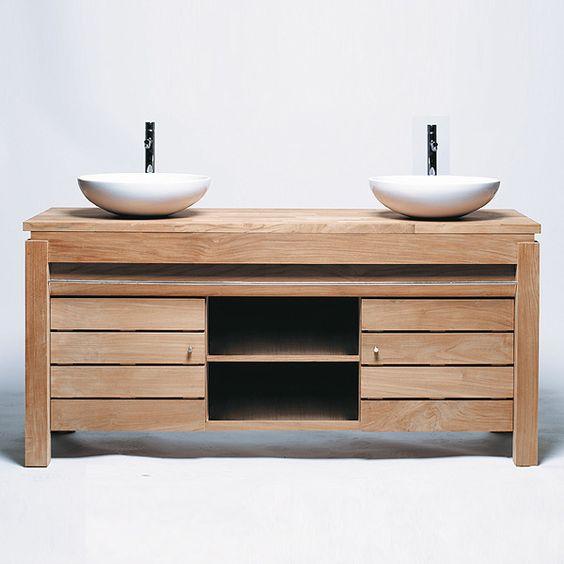 Meuble de salle de bain une porte en teck brut massif - Meuble en teck pour salle de bain ...