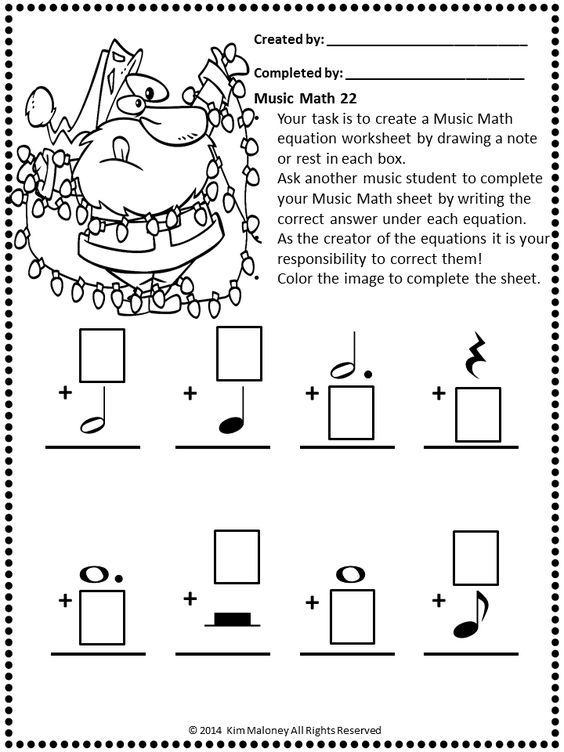 Music Math with a Santa Theme – Santa Math Worksheets
