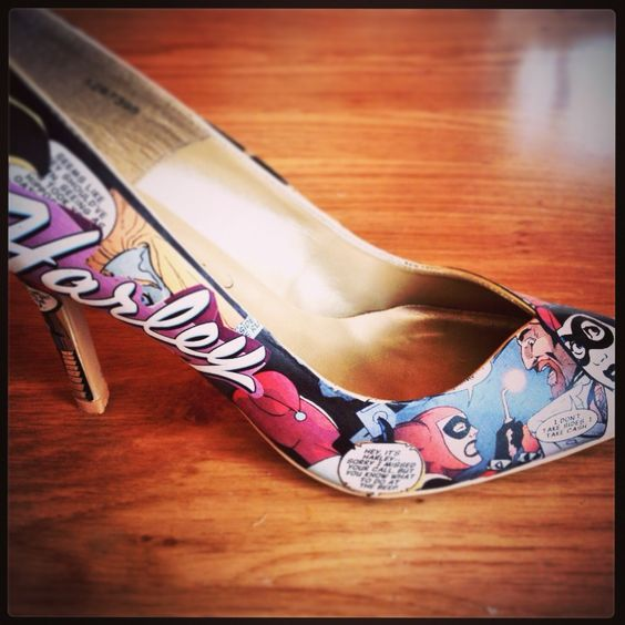 Harley quinn comic shoes by alice teapot