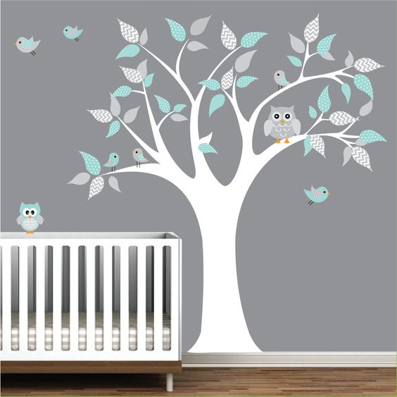 Children Vinyl Wall Decals tree decal with owls-nursery kids wall stickers. $99.00, via Etsy.