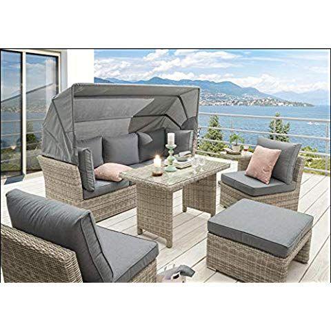 Destiny Lounge Loungegruppe Aruba Sitzgruppe Sofaset Faltdach Polyrattan Aussenmobel Lounge Sitzgruppe