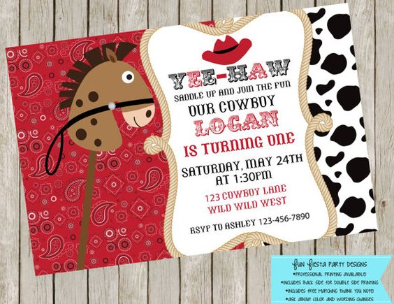 Wild Wild West  Cowboy/Cowgirl invitation by FunFiestaPartyDesign, $10.00