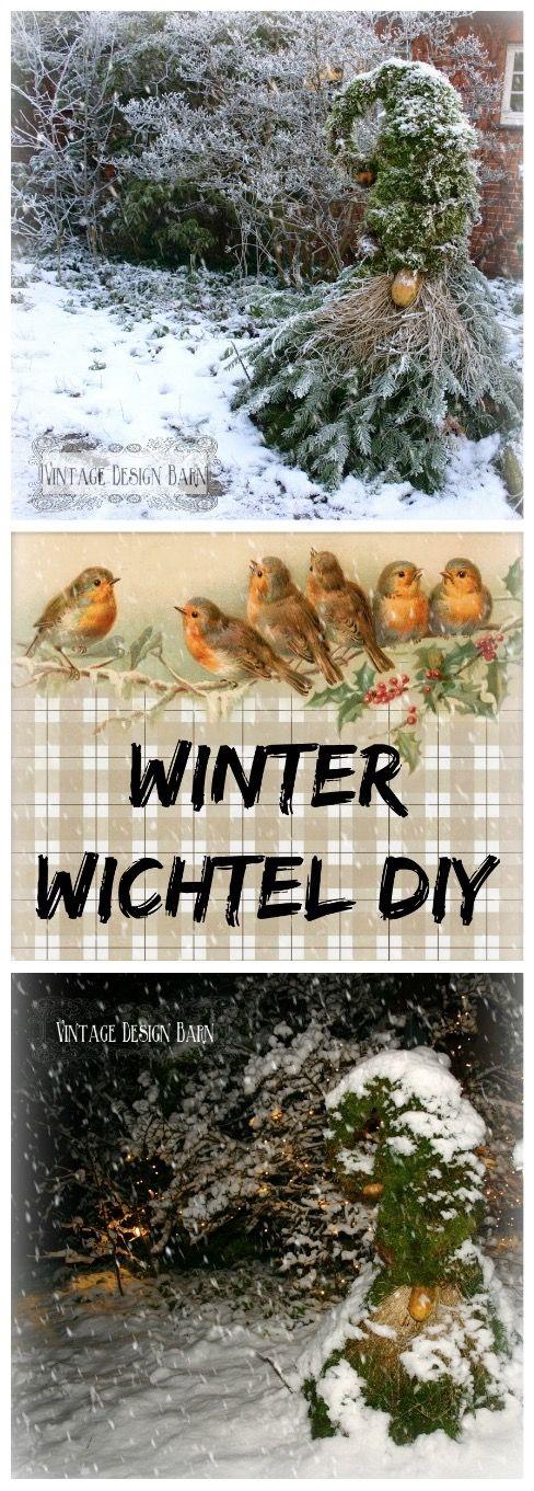 Der Winterliche Garten Braucht Highlights Wie Einen Winter Wichtel Aus Naturmaterial Anleitung Auf Vintage Design Bar Garten Garten Deko Aussendeko Weihnachten