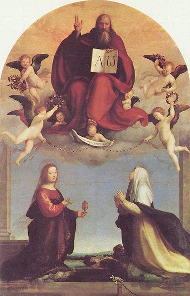 Fra Bartolomeo - Peinture avec une représentation de Dieu tenant le Livre où sont inscrites les lettres alpha & oméga.