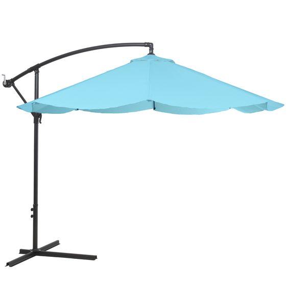 10 Blue Offset Aluminum Hanging Patio Umbrella Patio Umbrellas Patio Offset Patio Umbrella