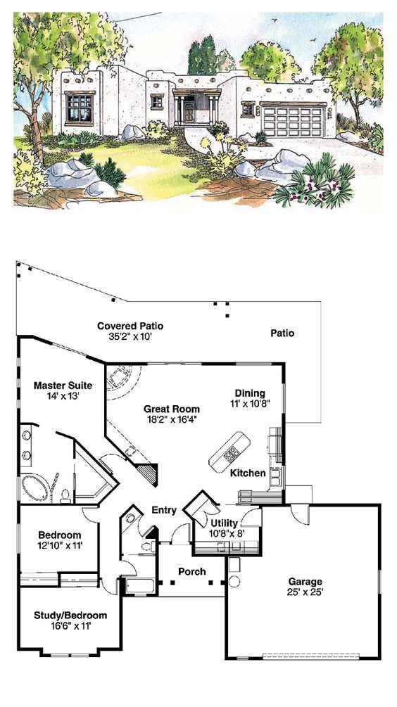 Santa fe house plans and fes on pinterest for Santa fe floor plans