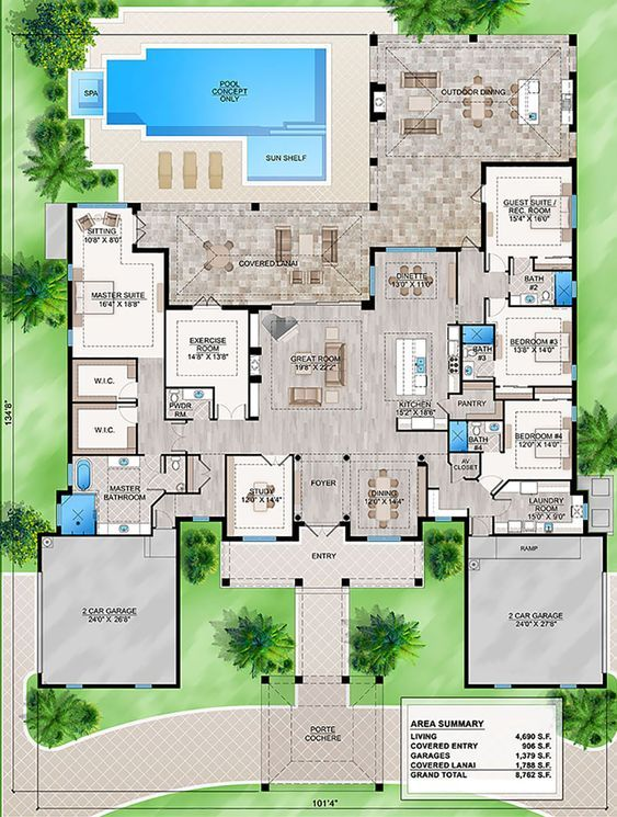House Plan 207 00064 Coastal Plan 4 690 Square Feet 4 Bedrooms 4 5 Bathrooms In 2021 Florida House Plans How To Plan House Plans