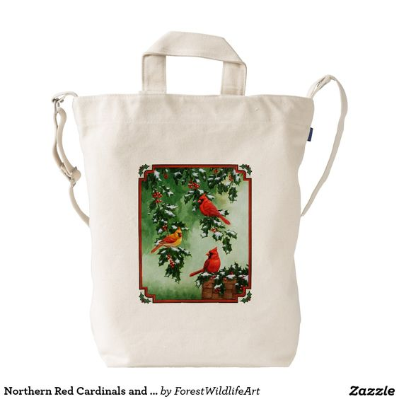 Northern Red Cardinals and Holly Duck Canvas Bag