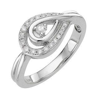 Sterling Silver Diamond set engagement ring