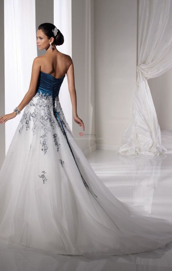 Tall white and blue wedding dress the back of a gorgeous for Tall dresses for weddings
